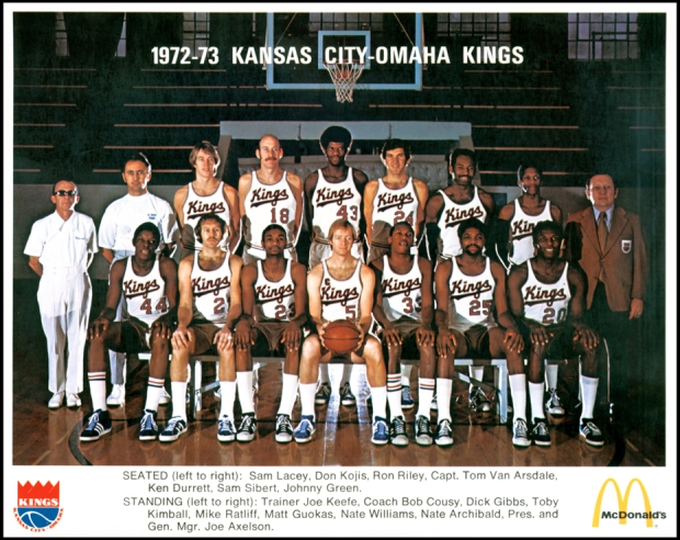 1972-73 Kansas City-Omaha Kings basketball team. Seated (l-r): Sam Lacey, Don Kojis, Ron Riley, Capt. Tom Van Arsdale, Ken Kurrett, Sam Sibert, Johnny Gree. Standing (l-r): Trainer Joe Keefe, coach bob Cousy, Dick Gibbs, Toby Kimball, Mike Ratliff, Matt G